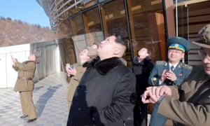 North Korean leader Kim Jong-un watches the rocket launch.