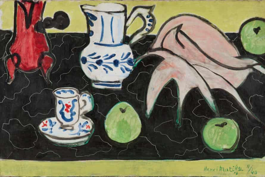 Including the famous chocolate pot … Henri Matisse, Still Life with Seashell on Black Marble, 1940.
