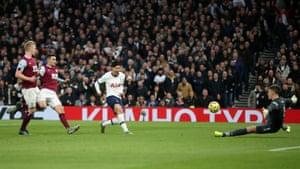 Heung-Min Son of Tottenham Hotspur scores his team's third goal after a mazy run, during the Premier League match between Tottenham Hotspur and Burnley.