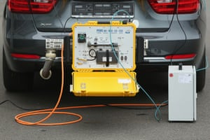 A portable emissions measurement system (Pems) device for testing the emissions of cars in real driving situations is attached to a car exhaust pipe.