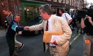 Martin Bell walking around Knutsford after winning the Tatton constituency