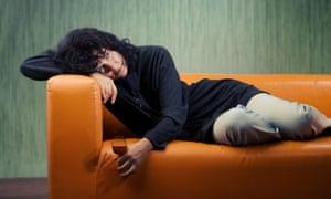 Woman slumped on a sofa