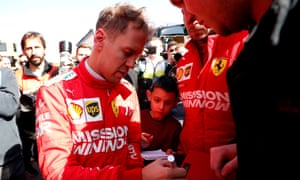 Sebastian Vettel signing autographs