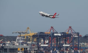 A Qantas plane takes off from Kingsford Smith International Airport in Sydney.