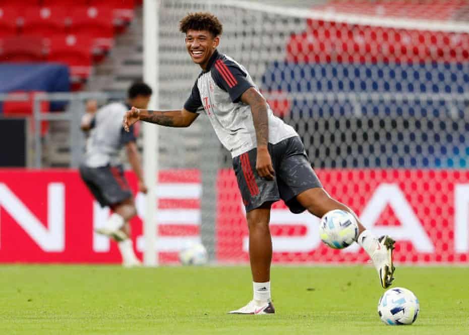 Bayern Munich's Chris Richards during training.