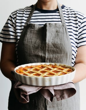 Here Emiko is holding a lovely lattice pie.