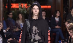 Vetements showed oversized hoodies with visual gags.