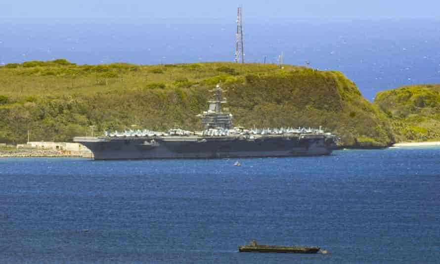 The USS Theodore Roosevelt docked along Kilo Wharf in Guam