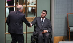 Greens senator Jordon Steele-John shakes hands with Scott Morrison on Monday but later accused the government of a bare-faced lie.