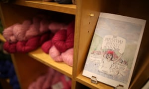 Yarn bundles are seen on the shelf as knitters take part in the Pussyhat social media campaign to provide pink hats for protesters in the women's march in Washington DC in Los Angeles on 13 January 2017.