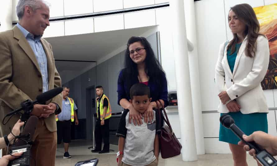 Yolany Padilla and her six-year-old son Jelsin were reunited Saturday. She is suing the US government in an effort to help other asylum seekers.