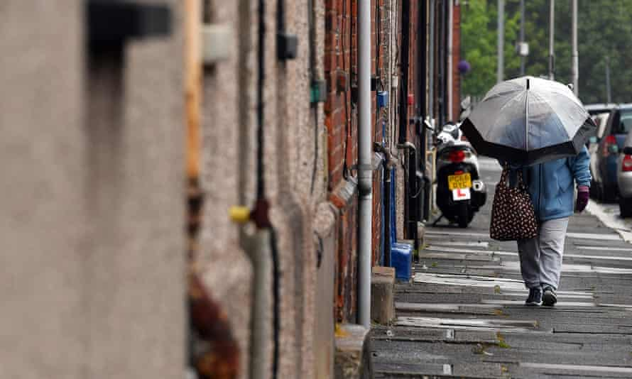 A row of terraced houses in Barrow-in-Furness, north west England on May 18, 2020