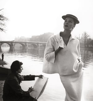 Suzy Parker by the Seine, Costume by Balenciaga, 1953