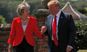 Theresa May and Donald Trump at Chequers last Friday.