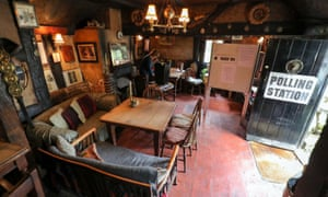 A general view of a polling station at the White Horse Inn in Priors Dean, Hampshire, also known as the 'Pub with no name'