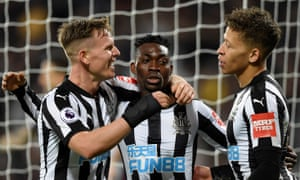 Christian Atsu celebrates scoring what proved Newcastle's winner against West Ham with Matt Ritchie and Dwight Gayle