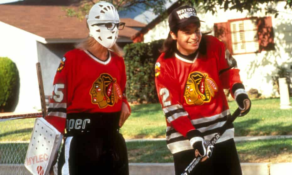 From Scarborough to Aurora ... Mike Myers and Dana Carvey plays Canada's game in Wayne's World.