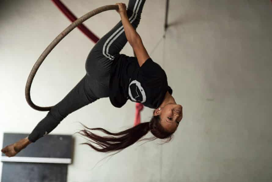 Flying high: a performer from the Kathmandu circus.