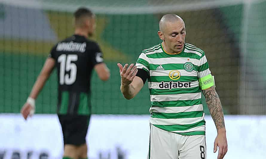 Scott Brown reacts as another Champions League campaign comes to an early end for Celtic.
