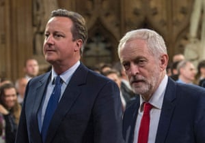 Jeremy Corbyn with David Cameron at the state opening of parliament in May 2016