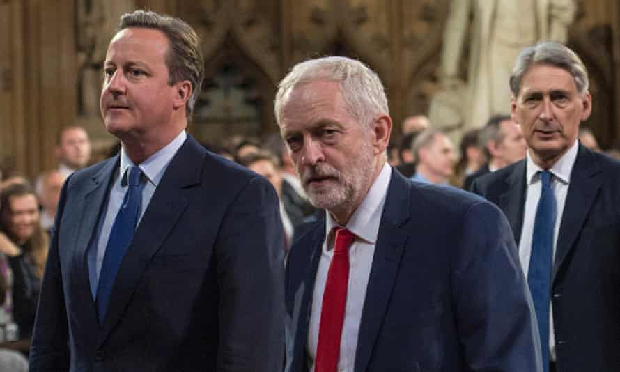 Labour leader Jeremy Corbyn studiously avoided talking to David Cameron as they walked to the House of Lords of the Queen's speech.