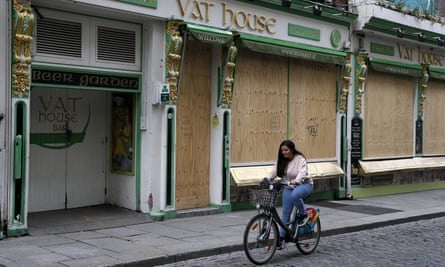 A boarded-up pub in the Temple Bar area of Dublin