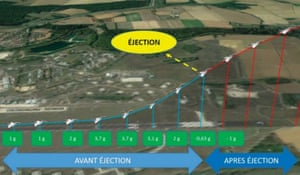 A diagram showing the moment at which the passenger accidentally ejected himself from the cockpit of the Rafale B fighter jet in Saint- Dizier, France, in March 2019.