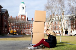 Jordan Di Verniero, a sophomore at Harvard, sits by her belongings before returning home to Ormond Beach, Florida.