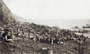 Armenian refugees waiting on a beach in 1915 for evacuation to Egypt by French and British warships. September 1915.