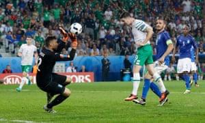 Republic of Ireland's Robbie Brady scores their first goal.