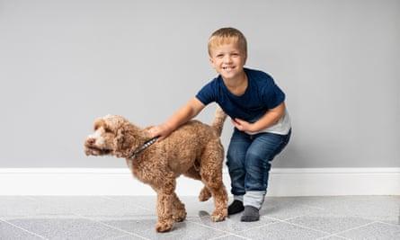 Samuel with his pet dog, Hamish.