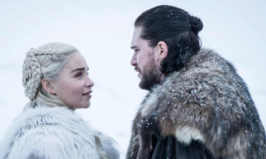 Emilia Clarke and Kit Harington in a scene from series 8 of Game of Thrones