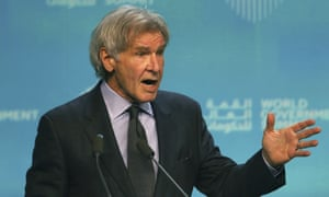 Harrison Ford speaks at the World Government Summit in Dubai, United Arab Emirates on 12 February.