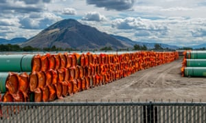 Steel pipe for the Canadian government's Trans Mountain pipeline expansion in Kamloops, British Columbia, on 18 June 2019.