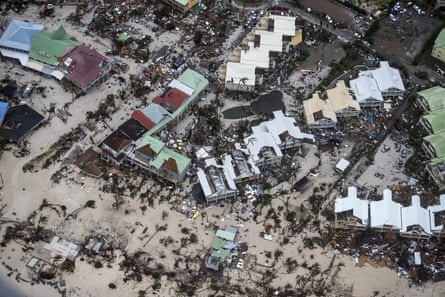 Saint Martin after Hurricane Irma. The storm strengthened to a category five and slammed into the Caribbean and US, causing more than 130 deaths in places such as Barbuda, Saint Martin, Barbados and the US.
