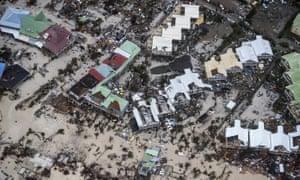 Damage in the aftermath of Hurricane Irma, in Saint Maarten.