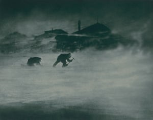 Blizzard at cape Denison. Whetter and Close trying to get ice for drinking water from a glacier. 1912