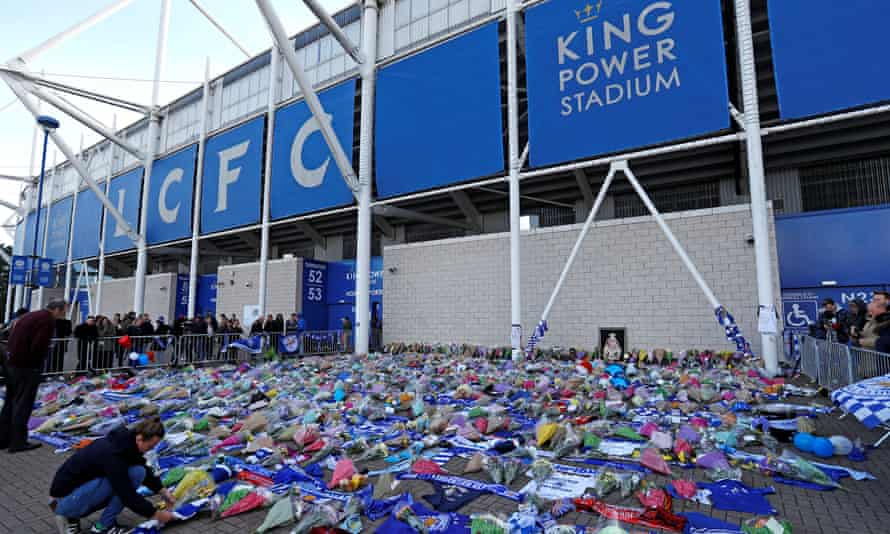 Floral tributes outside the King Power Stadium