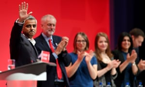 Sadiq Khan acknowledges the audience after making a speech at last year's Labour conference in Liverpool.