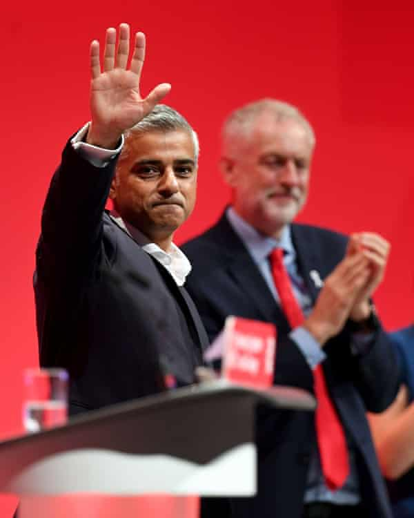 Sadiq Khan and Jeremy Corbyn at the Labour Party conference in September 2016.