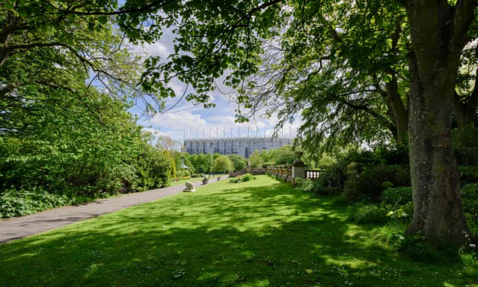Leazes Park, Newcastle upon Tyne, with Newcastle United stadium, St James' Park, in the background.