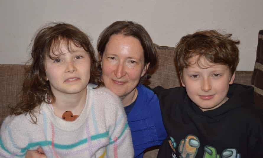 Sarah Burgess with her son, 10, and daughter, 8.