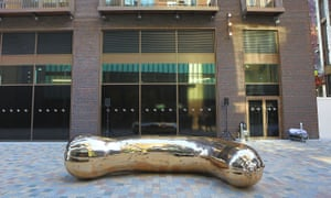 Sarah Lucas' bronze sculpture of a marrow at Embassy Gardens in Nine Elms, London.
