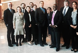 Swapna Reddy, fourth from right, with Mike Wishnie, left, and other clinic students after a recent court hearing.