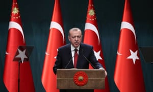 Turkish president Recep Tayyip Erdoğan speaks during a press conference at the presidential complex in Ankara on Wednesday.