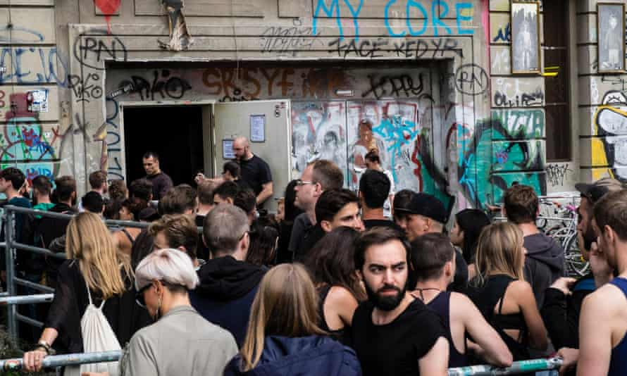 Clubbers queuing outside infamous Berghain nightclub on a Sunday afternoon in Berlin.