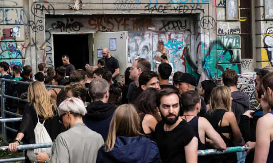 Clubbers queuing outside infamous Berghain nightclub on a Sunday afternoon in Berlin