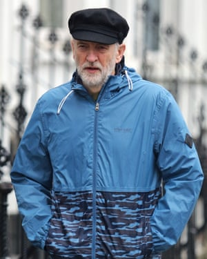 Jeremy Corbyn strolling to the gym near his north London home.