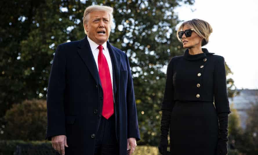 Donald Trump leaves the White House before Joe Biden's inauguration on Wednesday in Washington DC.
