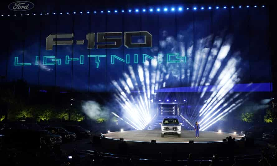 Ford Chief Executive Engineer Linda Zhang unveils the Ford F-150 Lightning in Dearborn on Wednesday.